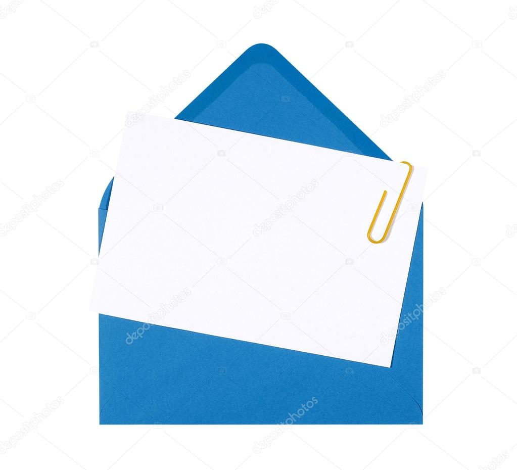 blank birthday invitation card with blue envelope and yellow pap