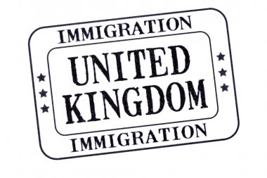 UK immigration visa stamp isolated on white background