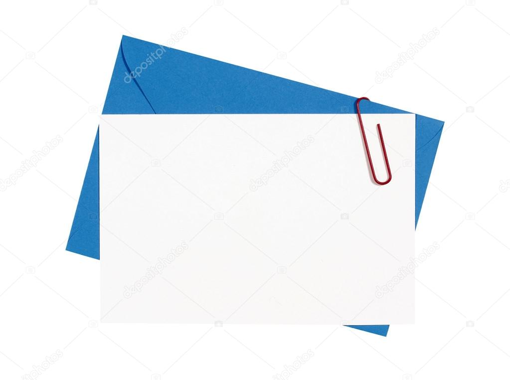 Blank birthday invitation card with blue envelope stock photo blank birthday invitation card with blue envelope and red paperclip copy space photo by davidfranklin stopboris Image collections