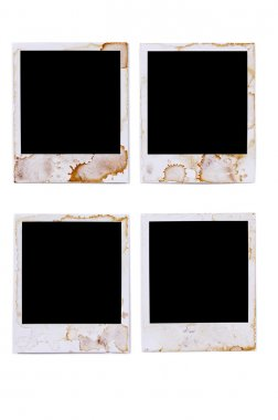 Old vintage stained polaroid style blank photo print frames isol
