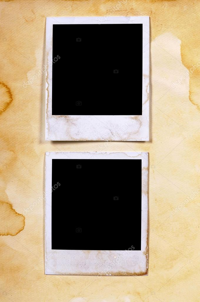 Old vintage stained polaroid style blank photo print frames on p ...