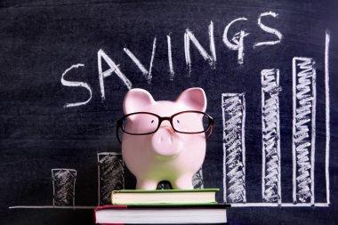 Piggy Bank with savings chart