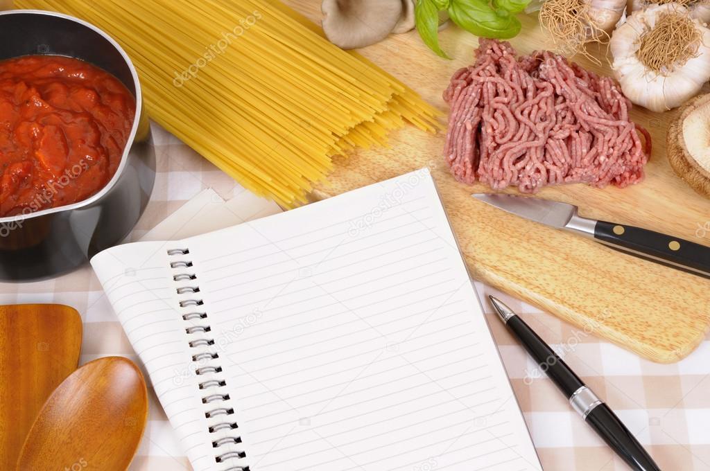 Ricette Con Ingredienti Per Spaghetti Alla Bolognese Foto Stock