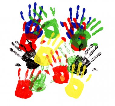 Child handprints made from vivid acrylic paint on white paper stock vector
