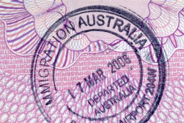Australian immigration departure passport stamp