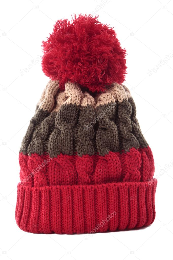 277cb2331b5 Red striped winter knitted bobble hat isolated vertical — Stock Photo