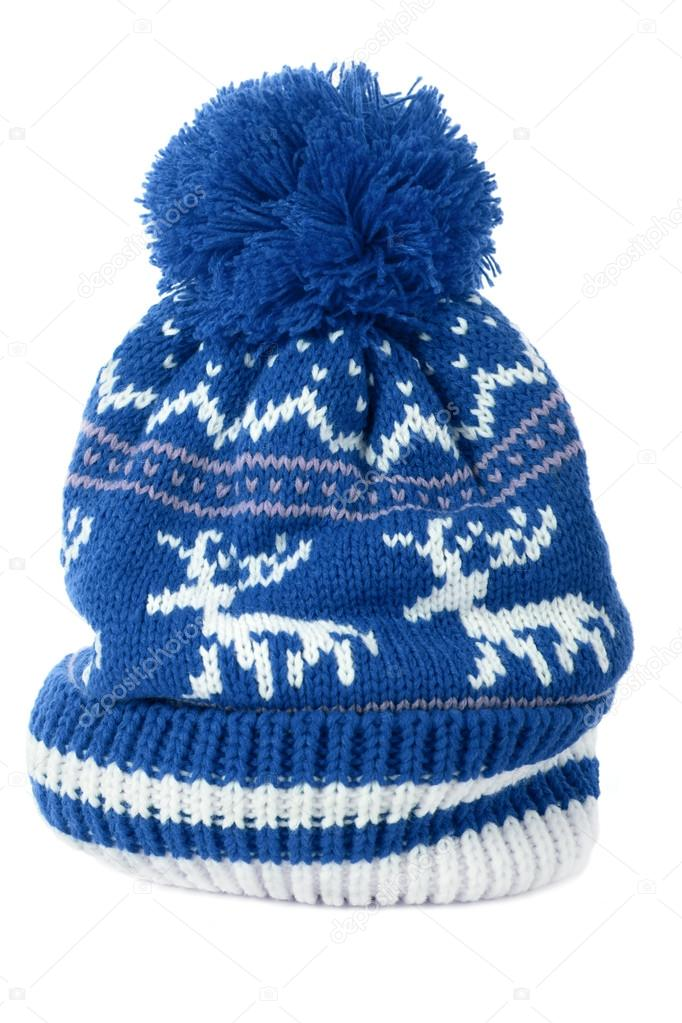 25c84c74490 Blue winter ski hat isolated on white — Stock Photo © david franklin ...