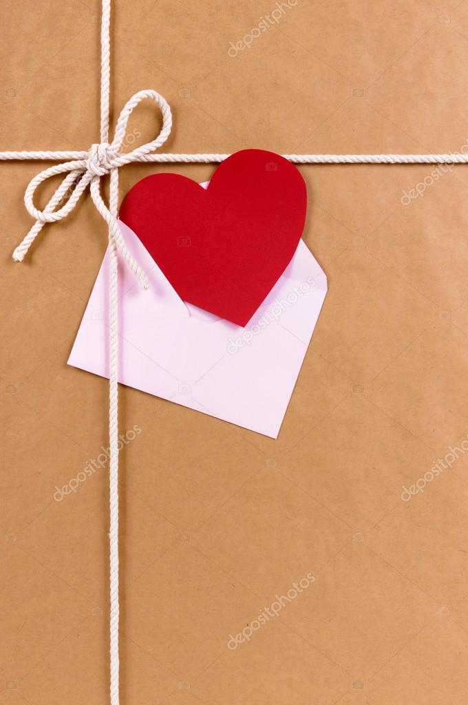 Valentine Gift With Red Heart Card Or Gift Tag Brown Paper Pack