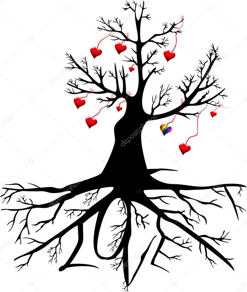 Dibujos Arboles De Corazones árbol Con Corazones Y La Palabra