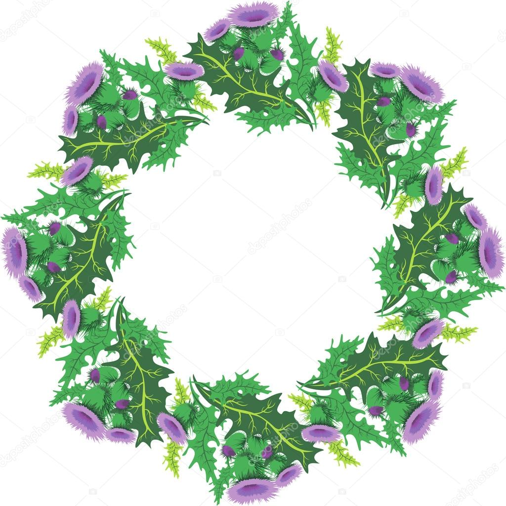 Beautiful round vignette of flowers thistle