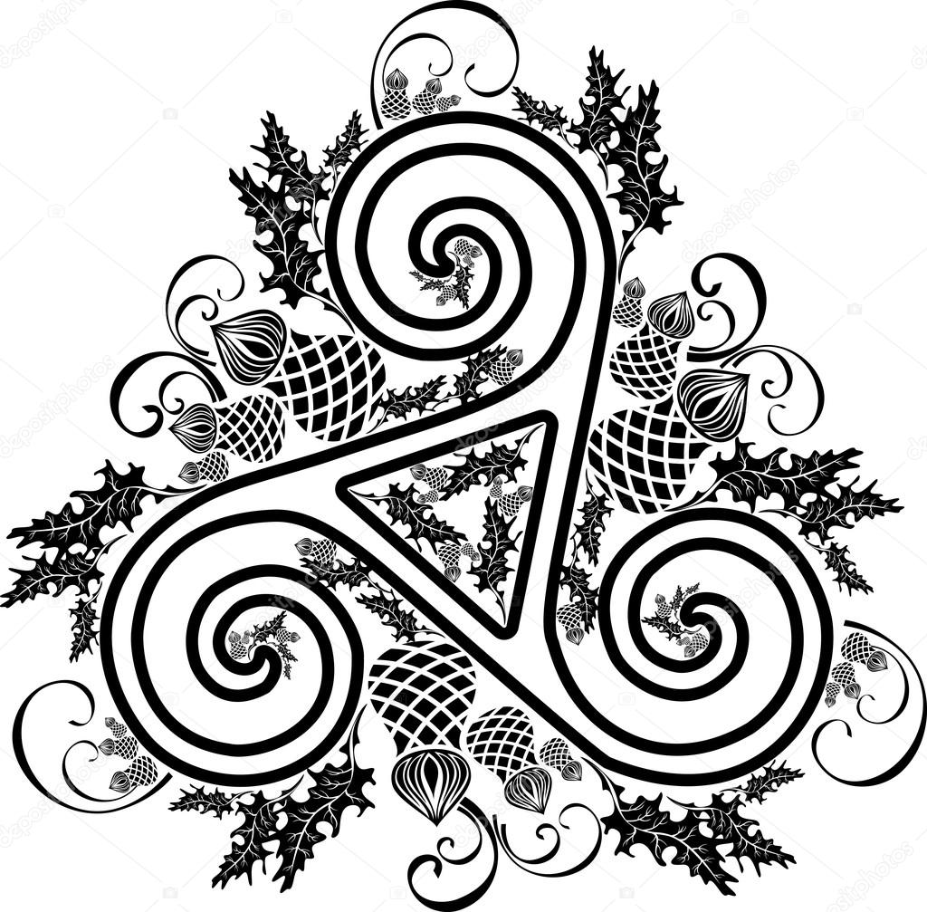Black and white image Celtic triad with flowers of thistles