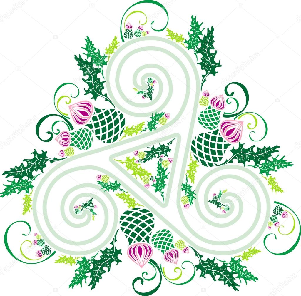 Celtic triad with flowers of thistles