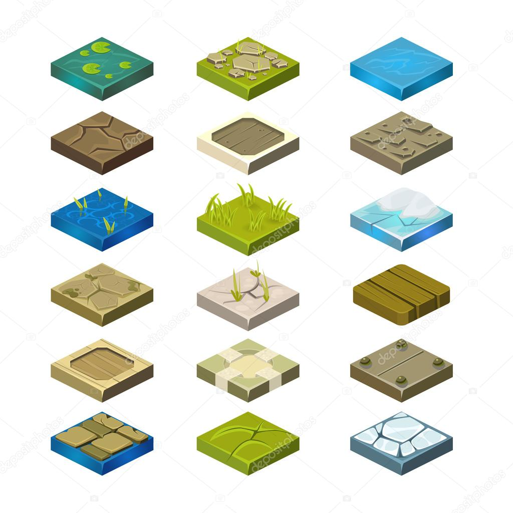 Isometric Vector Platforms Set