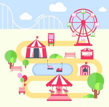 Amusement Park, Vector Illustartion