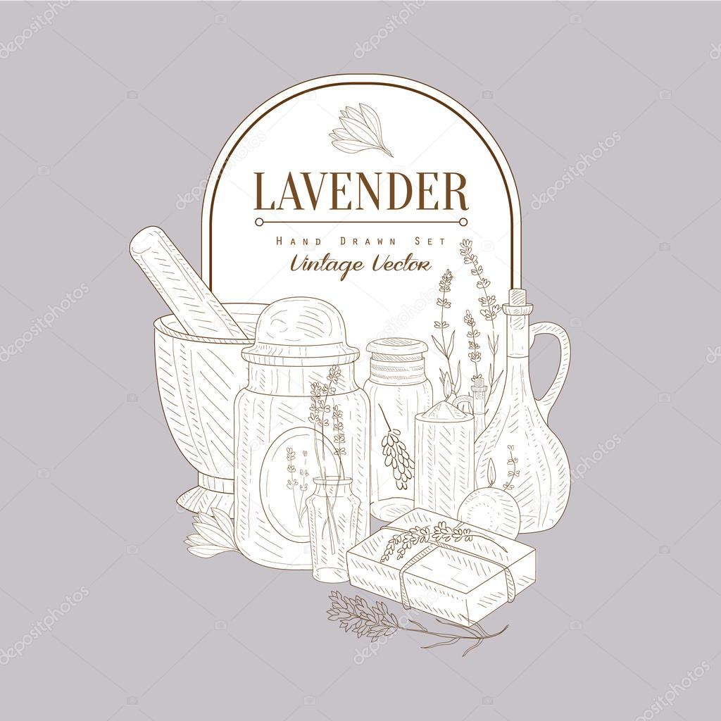 Vintage Sketch With Lavender Products Set