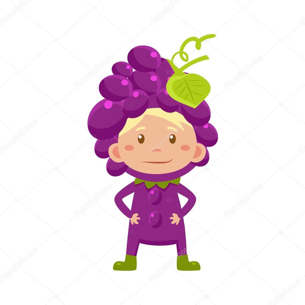Niño en traje de uvas. Ilustración de vector — Vector de stock ...