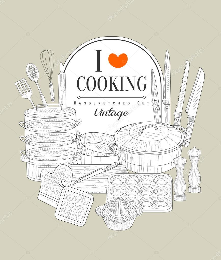 Cocina utensilios de dibujo Vintage — Archivo Imágenes Vectoriales ...