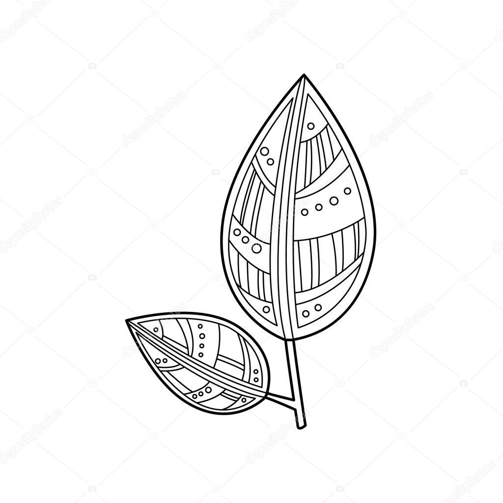 Zentangle Blätter zum ausmalen — Stockvektor © TopVectors #104409100