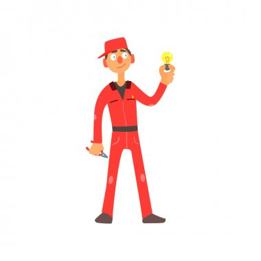 Profession Electrician Vector Illustration