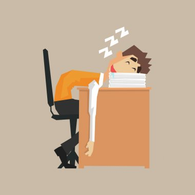 Office Worker Sleeping On Pile Of Papers
