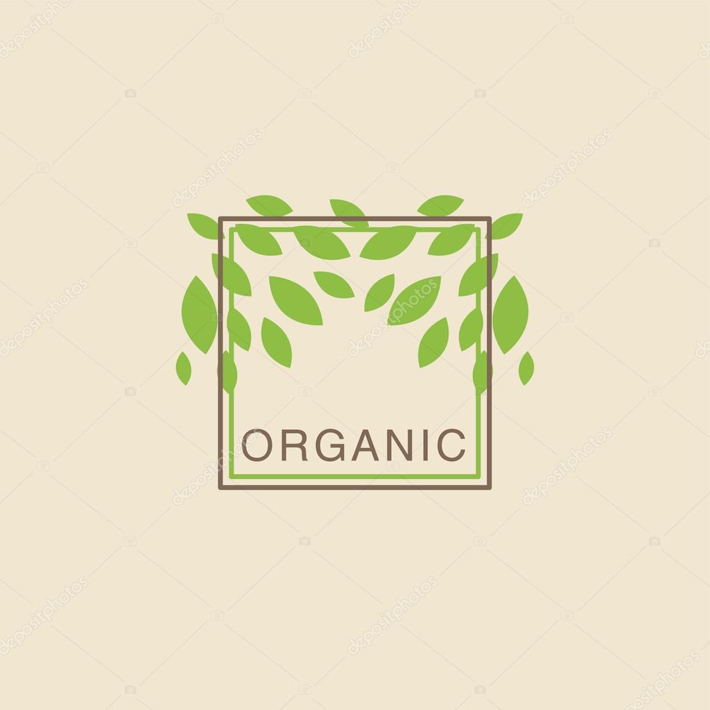 Marco doble con hojas desde arriba del logotipo del producto ...