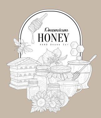 Premium Honey Vintage Sketch