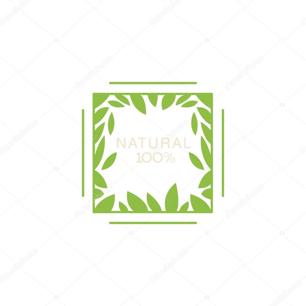 Marco doble con hojas dentro de producto orgánico — Vector de stock ...