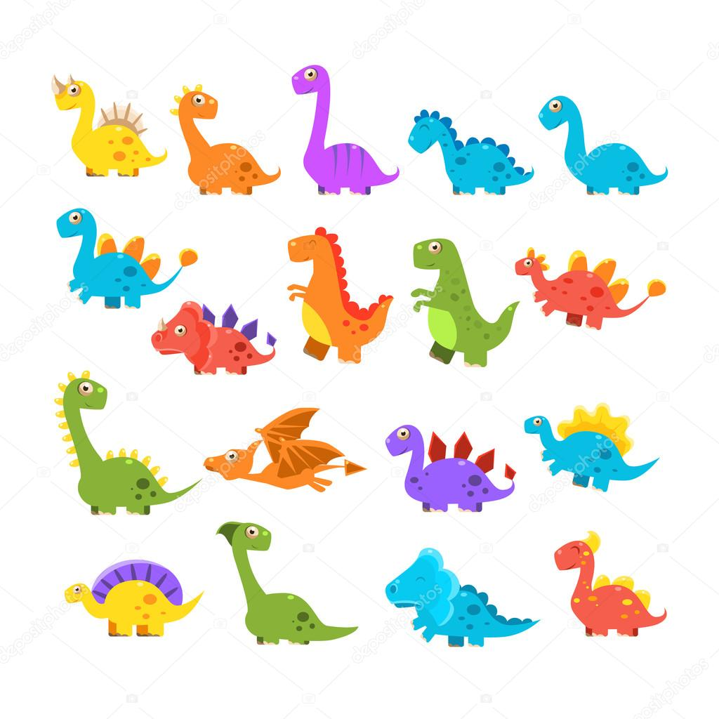 Cute Cartoon Dinosaurs Set Stock Vector C Topvectors 107993138