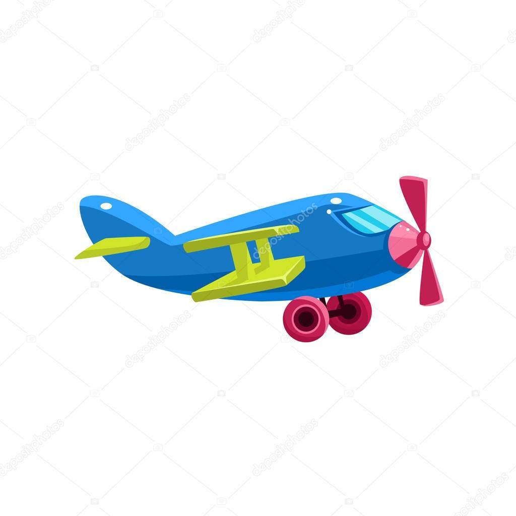 Ícone de avião biplano azul brinquedo vetores de stock