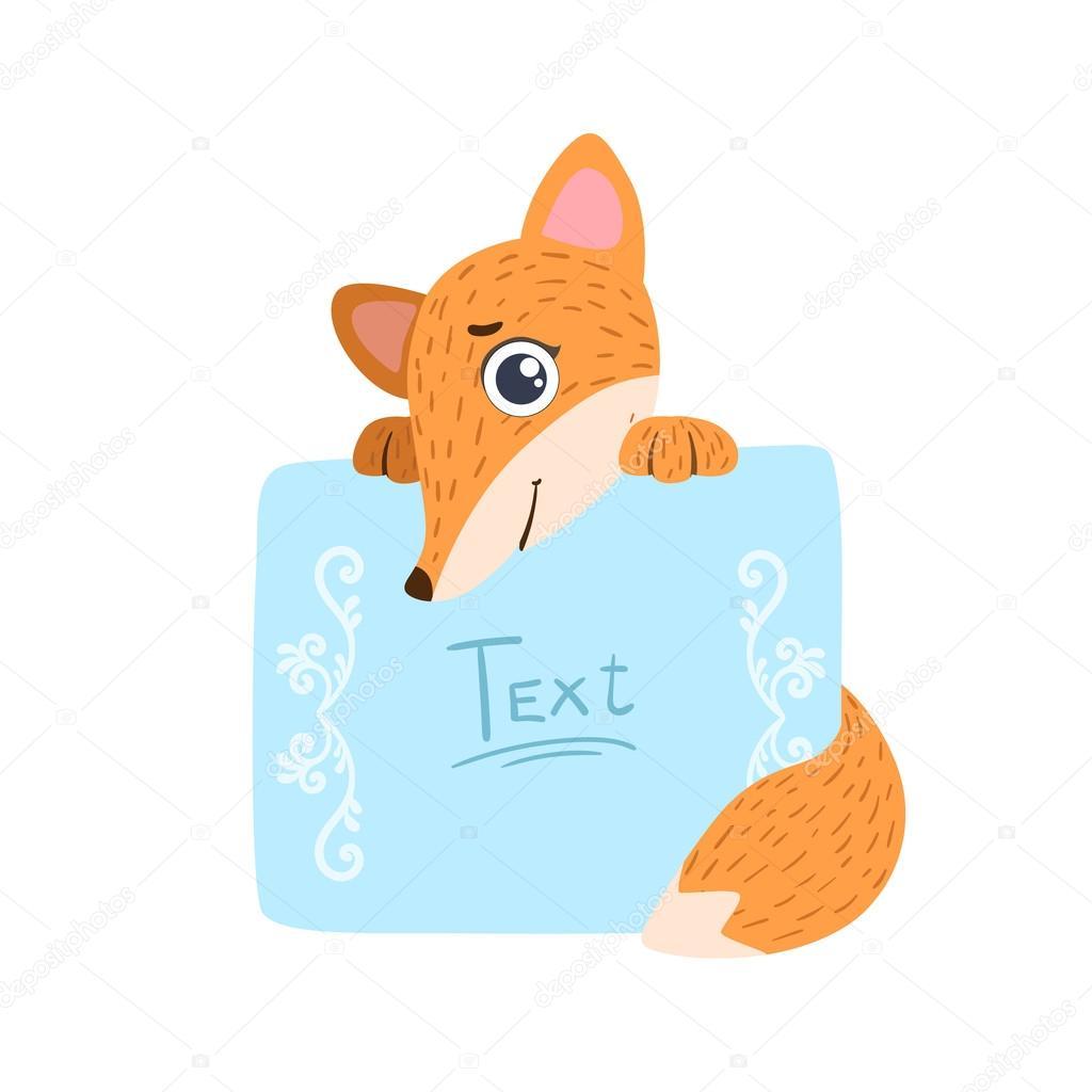 Fuchs mit der Vorlage für die Nachricht — Stockvektor © TopVectors ...