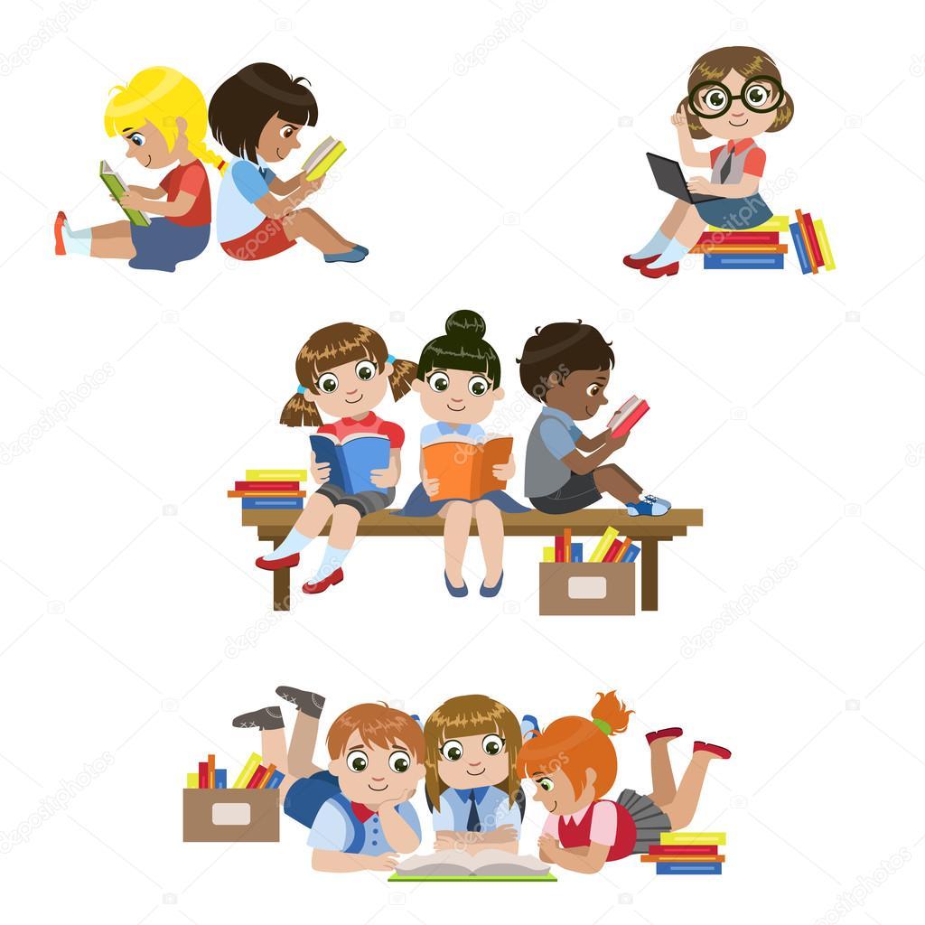 Bambini Che Leggono Libri Impostati Vettoriali Stock Topvectors