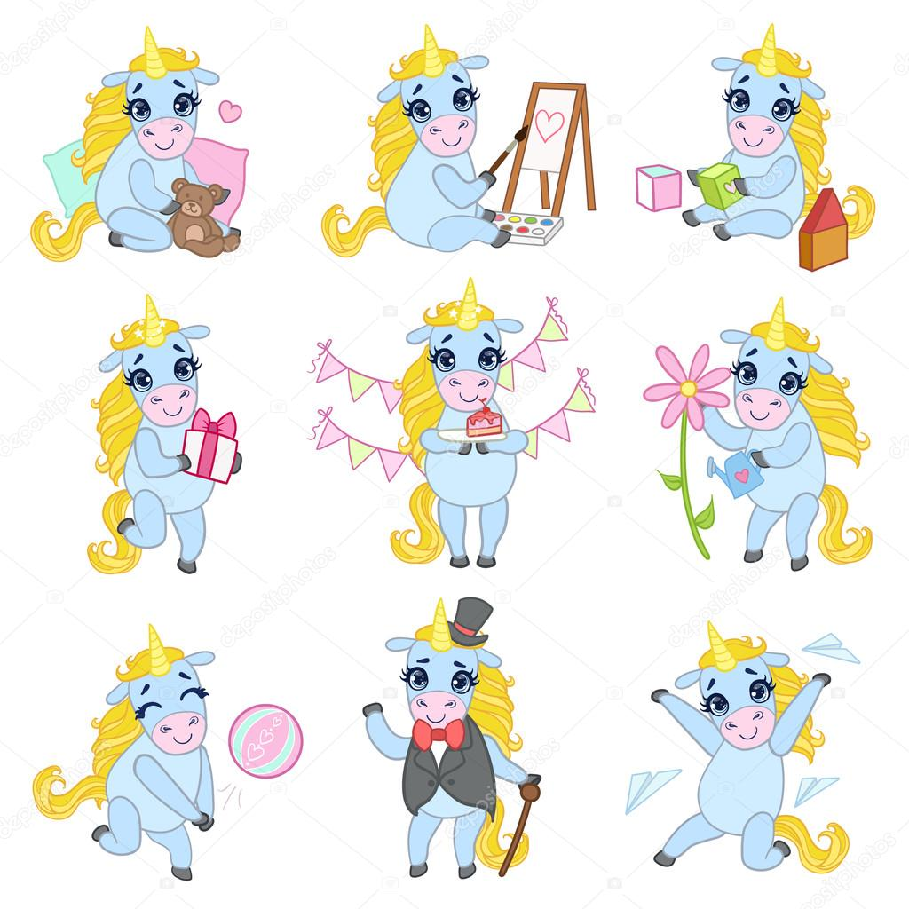 Susse Einhorn Cartoon Set Stockvektor C Topvectors 109540562
