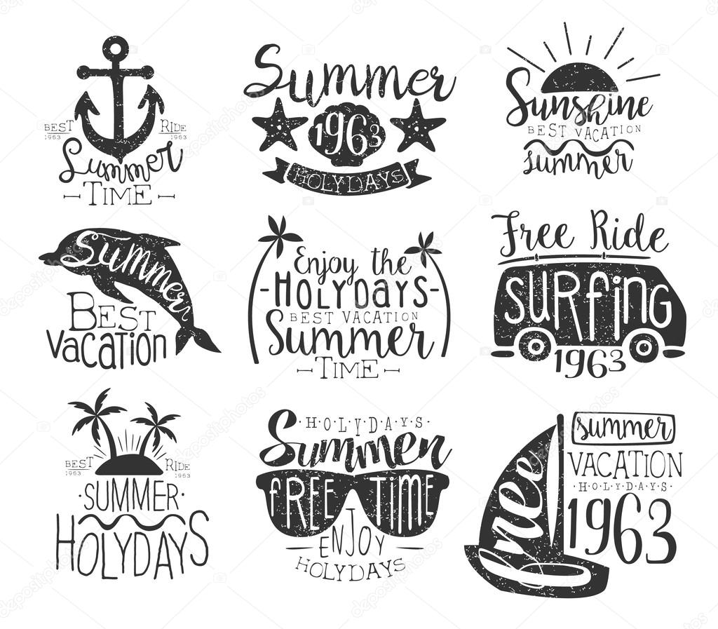 Summer Vacation Vintage Stamp Collection Of Monochrome Vector Design Labels On White Background By TopVectors