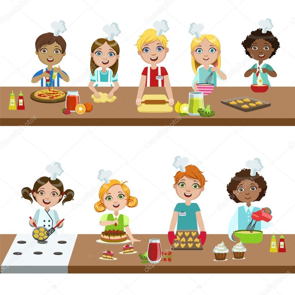 Imágenes Dibujo De Niños En Clase Niños En Clase De Cocina