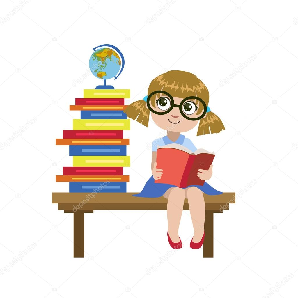 Girl Sitting On The Desk Reading A Book Stock Vector