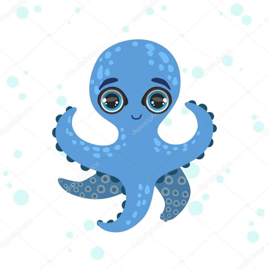 Dessin de la pieuvre bleue — Image vectorielle TopVectors ...