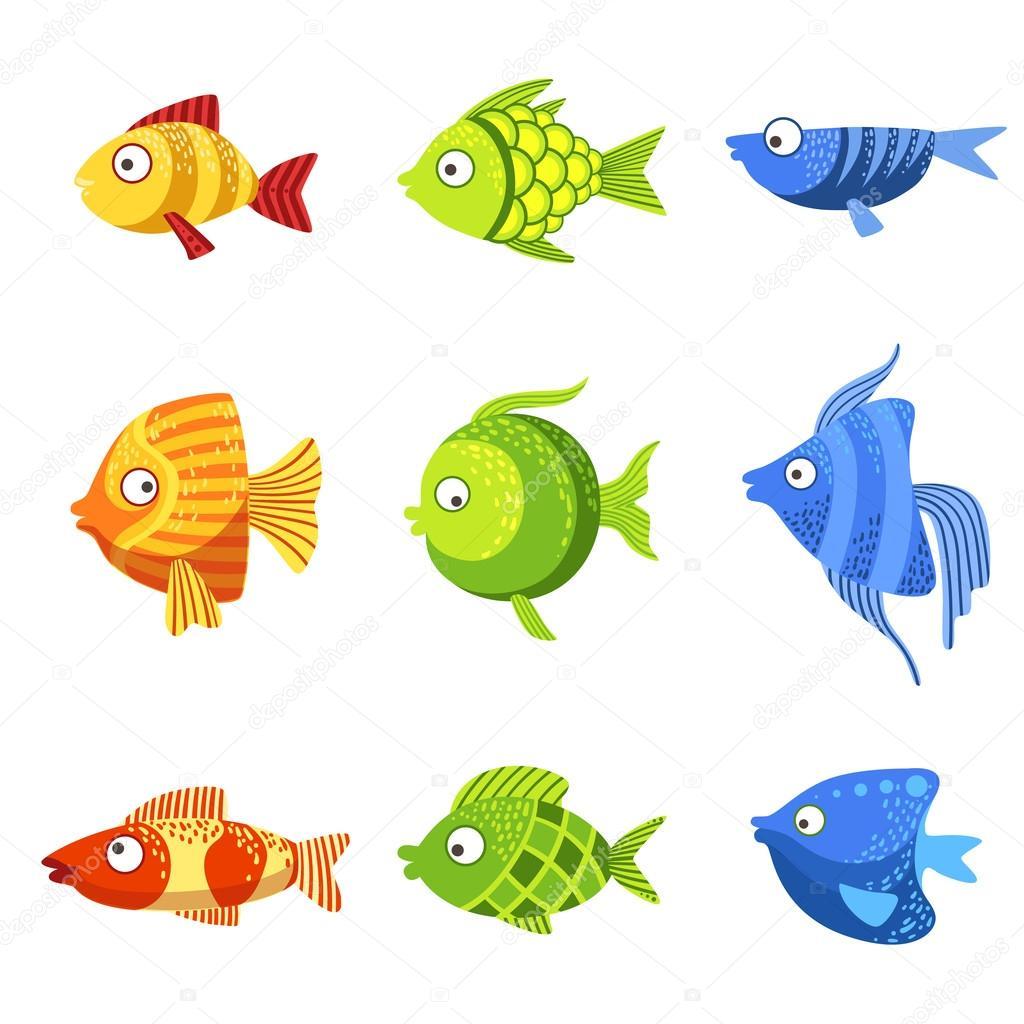 conjunto de peixes coloridos vetor de stock topvectors 111920260