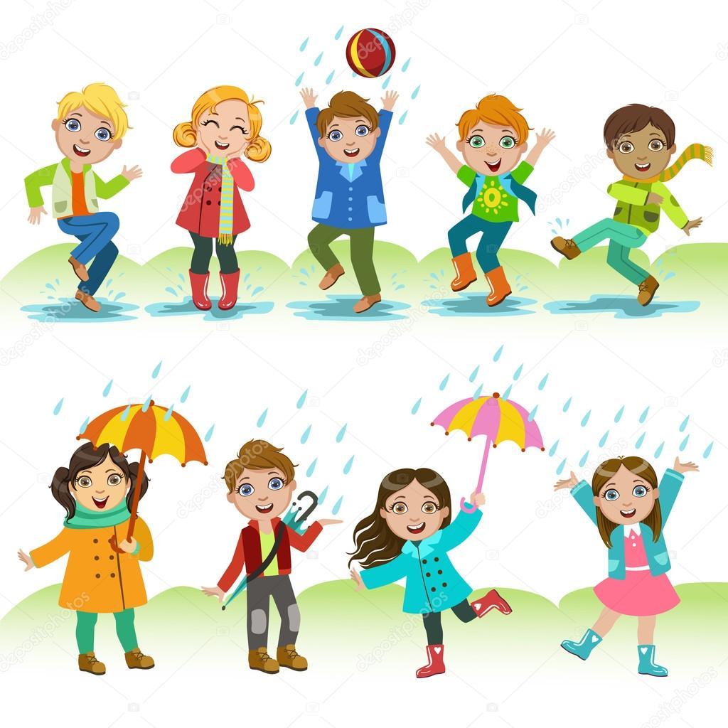 ni u00f1os jugando bajo la lluvia vector de stock raindrop vector graphic raindrop vector art
