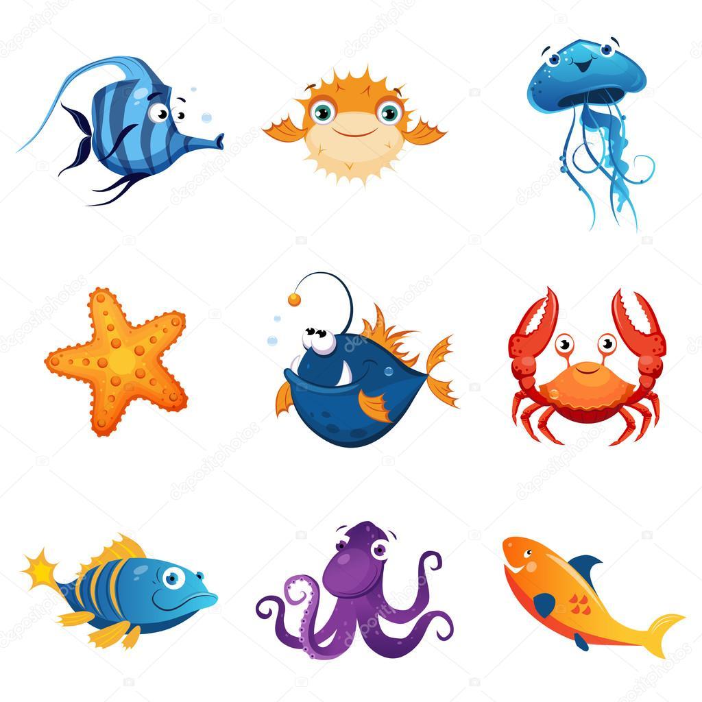 Insieme variopinto degli animali marini vettoriali stock - Clip art animali marini ...