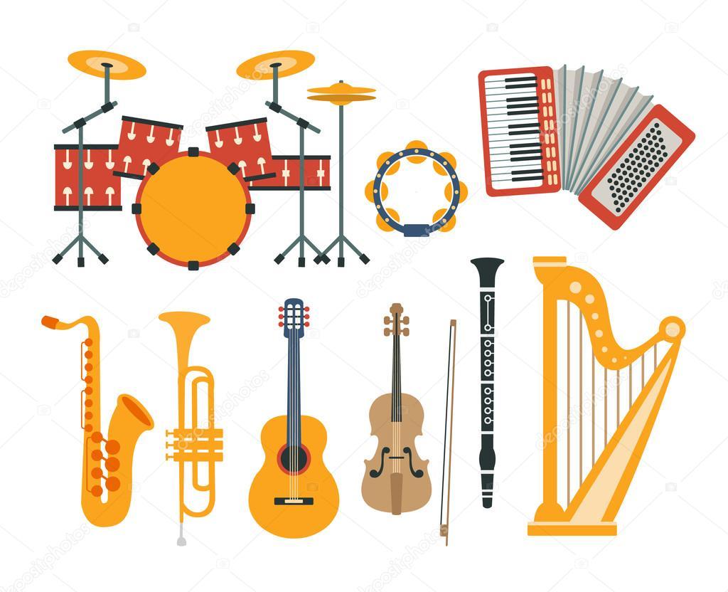 Hudebn n stroje realistick kresby kolekce stock vektor for Instruments de musique dax
