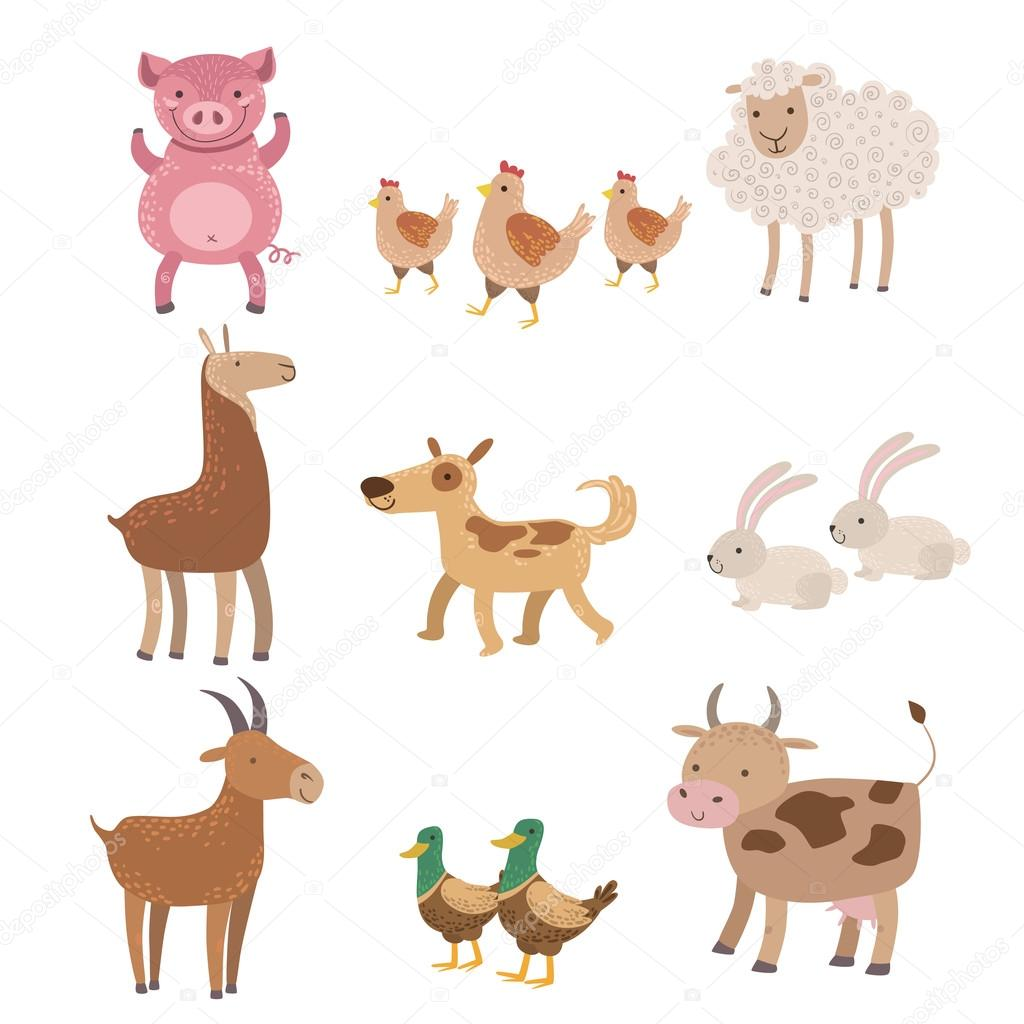 Set animali di fattoria vettoriali stock topvectors for Piani di fattoria di 2000 piedi quadrati