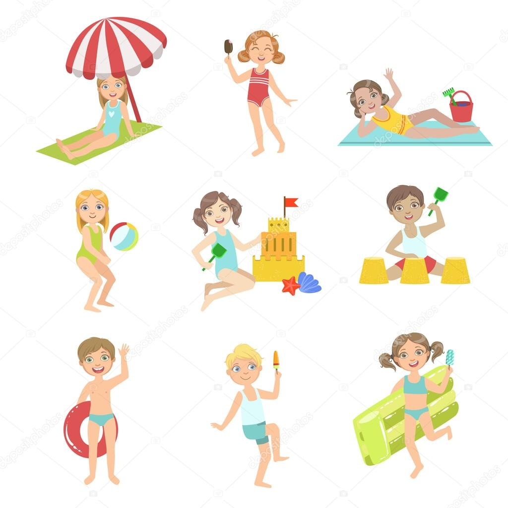 Kids Playing At the Beach Set