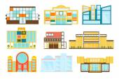 Shopping Mall Buildings Exterior Design Set