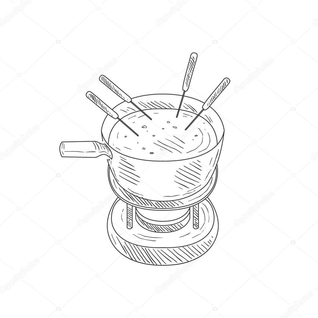 Bowl with cheese fondue hand drawn realistic detailed sketch in classy simple pencil style on white background vector by