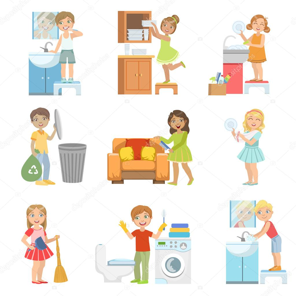 Im genes limpieza de casa ni os haciendo una limpieza - Imagenes de limpieza de casas ...