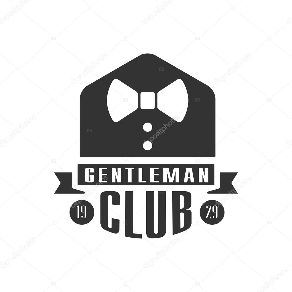 gentleman club label design with bow tie stock vector topvectors 117662822. Black Bedroom Furniture Sets. Home Design Ideas