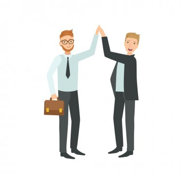 Managers Giving High Five Teamwork Illustration
