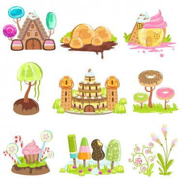 Fantasy Landscape Elements Made Of Sweets And Candy