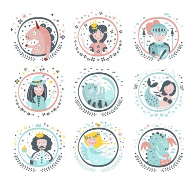 Fairy Tale Heroes Girly Stickers In Round Frames In Childish Simple Design Isolated On White Background clip art vector