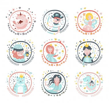 Fairy Tale Characters Girly Stickers In Round Frames In Childish Simple Design Isolated On White Background stock vector
